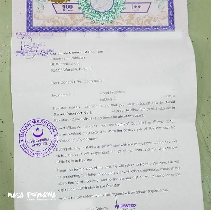 List do wizy Pakistan